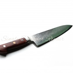 "Hiro Damascus General Purpose Knife Quince Wood Handle Japanese Made 180mm (7.08"")"