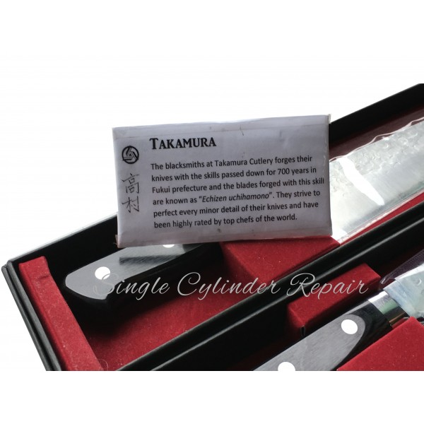 Takamura Set of 2 Chef and All Purpose knives VG-10 steel