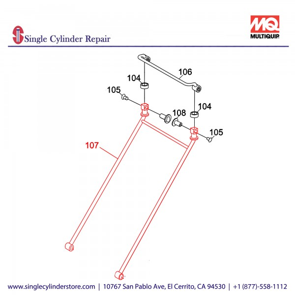 Multiquip 416118520 Handle, MVC-88VGH