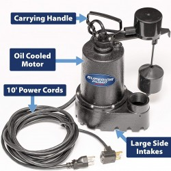 Superior Pump 92341 1/3 HP Cast Iron Sump Pump with Vertical Float Switch