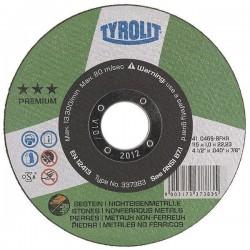 "TYROLIT 337383 4-1/2"" x .040 x 7/8"" PREMIUM Super Thin Cutting Wheels for Aluminum & Stone-Type 1"
