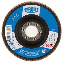 "TYROLIT 34334098 4-1/2"" x 5/8""-11 PREMIUM Zirconia Flap Discs for Steel and Stainless Steel, HIGH DENSITY JUMBO - ULTRA LONG-LIFE"