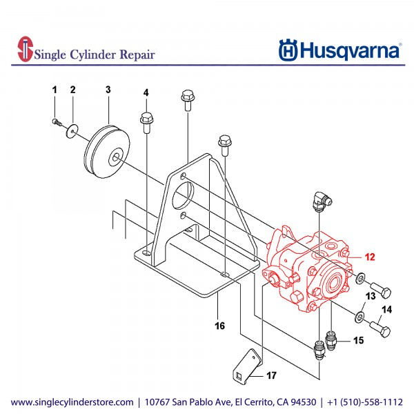 Husqvarna PUMP, HYDROSTAIC 6cc w/SHOCK 590868701