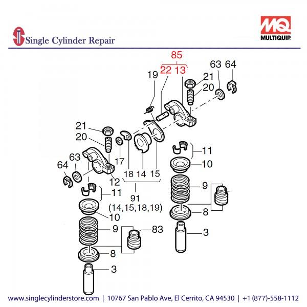 Multiquip 01285010 Exhaust Rocker
